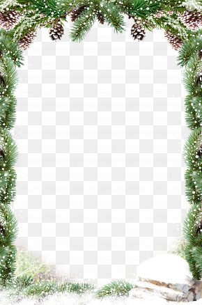 Green Leaves Border Snow - Christmas Decoration Santa Claus PNG
