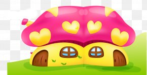 Small Mushroom House Vector Illustration - Drawing Illustration PNG