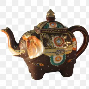 Hand Painted - Teapot Kettle Elephant Ceramic PNG