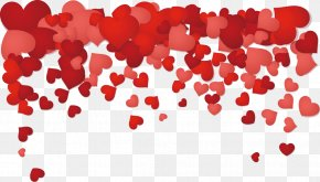Heart-shaped Red Rose Petals - Valentines Day Heart Photography Illustration PNG