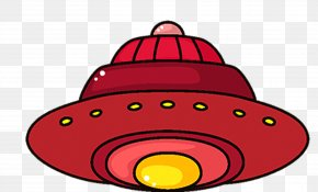 Red UFO Spacecraft - Cartoon Spacecraft Unidentified Flying Object Clip Art PNG