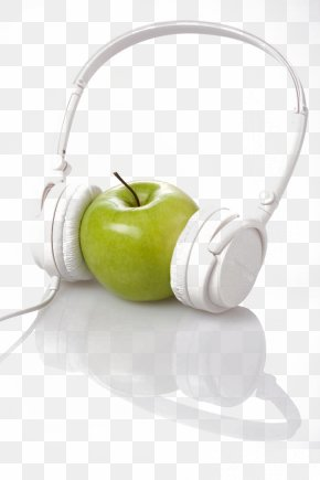 Apple Wearing Headphones - AirPods Headphones Apple Earbuds PNG