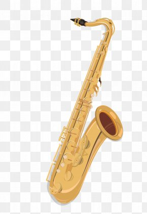 Golden Saxophone Cartoon Musical Instrument - Baritone Saxophone Musical Instrument Drawing PNG