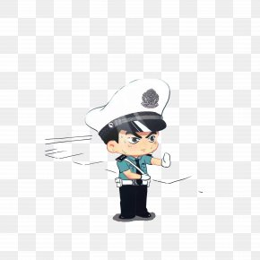 Traffic Police Directing Traffic In The Hot Sun - Cartoon Police Officer Avatar Illustration PNG