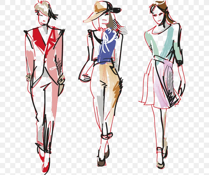 Drawing Fashion Croquis Model, PNG, 636x687px, Watercolor