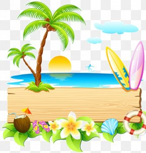 Summer Vacation Beach Free Matting - Summer Blog Clip Art PNG