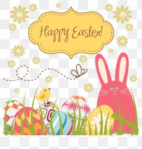 Easter Egg Bunny Vector Background Fabric. - Easter Bunny Easter Egg Clip Art PNG