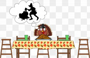 Scared Turkey - Table Turkey Thanksgiving Dinner Clip Art PNG