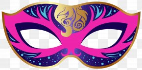 Pink And Blue Carnival Mask Clip Art Image - Carnival Mask Clip Art PNG
