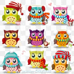 Cartoon Cute Owl Vector Material Free Download - Owl Santa Claus Christmas Clip Art PNG