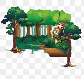 Monkey Forest And Trees - Tree Forest Download PNG