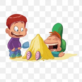 Two Naughty Children Playing In The Sand - Child Cartoon Royalty-free Clip Art PNG