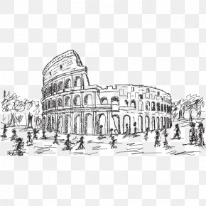 Hand Painted Line Of The Roman Colosseum - Colosseum Drawing Stock Illustration Stock Photography PNG