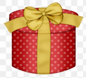 Red Round Gift Box With Yellow Bow Clipart - Gift Wrapping Drawing Clip Art PNG