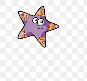 Cartoon Stars Purple Stripes - Cat Dog Text Illustration PNG