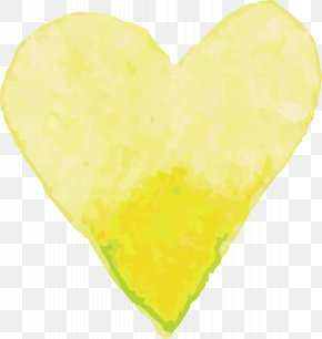 Yellow Watercolor Love - Yellow Watercolor Painting PNG