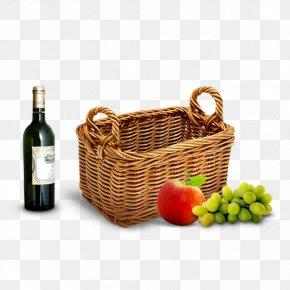 Picnic Basket And Wine - Red Wine Hamper Picnic Basket PNG