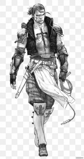 Black And White Cool Armor Warrior - Visual Arts Drawing Work Of Art Illustration PNG