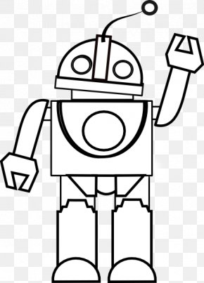 Robot Cliparts Black - Robot Black And White Drawing Coloring Book Clip Art PNG