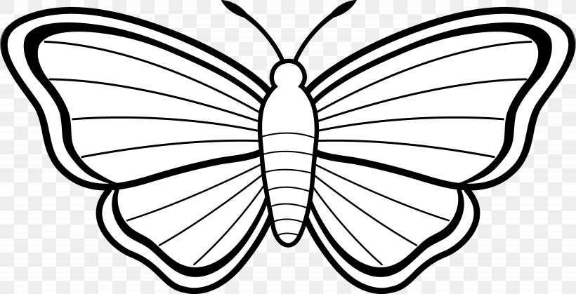 Monarch Butterfly Coloring Book Drawing Clip Art, PNG, 6978x3573px, Butterfly, Adult, Artwork, Black And White, Book Download Free
