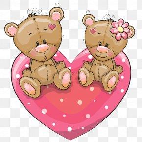 Bears Love Couple Sitting On A Vector - Cartoon Love Illustration PNG