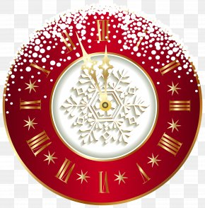Red New Year Clock Clipart Image - Christmas Clock New Year Clip Art PNG