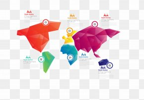 Vector Color World Map Display - Infographic Template Politics PNG