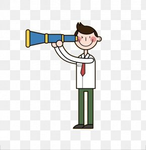 The Man With The Telescope - Cartoon Small Telescope Clip Art PNG