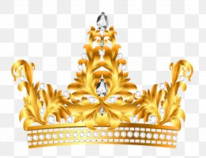 Gold And Diamonds Crown Clipart - Crown Clip Art PNG