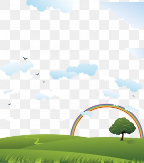 Blue Sky And Green Grass - Download Poster Wallpaper PNG