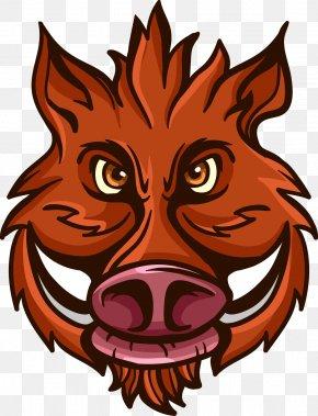 Vector Cartoon Illustration Of Wild Boar Avatar - Wild Boar Euclidean Vector Clip Art PNG
