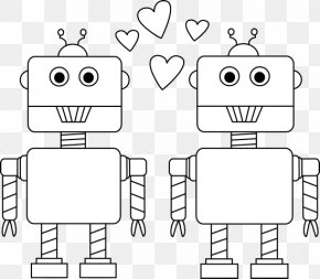 Robot Cliparts Black - Black And White Valentines Day Robot Car Clip Art PNG