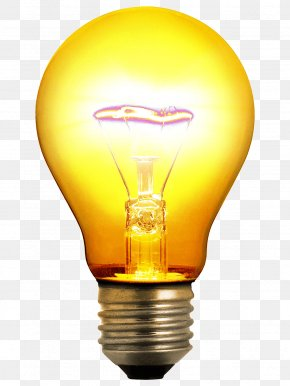 Yellow Light Bulb Image - Incandescent Light Bulb Lighting Invention PNG
