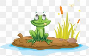 A Frog With A Tongue Sticking Out On The Bank Of The River - Michigan J. Frog Edible Frog Illustration PNG