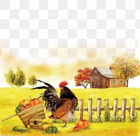 Chicken Farm,free Download - Autumn Poster Illustration PNG