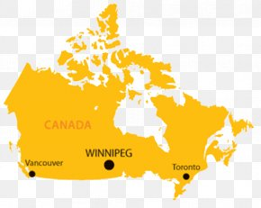 Yellow English Map Of Canada - Flag Of Canada United States Map PNG