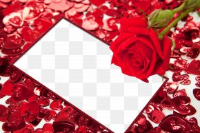 Red Flower Frame HD - Picture Frame Heart High-definition Video PNG