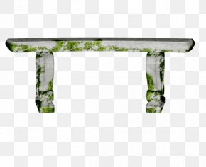 Long Moss Stone Bench - Bench Chair PNG