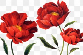 Watercolor Red - Flower Paper Watercolor Painting Floral Design PNG