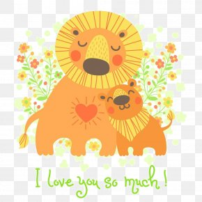 Cartoon Lion Flower - Lion Fathers Day Euclidean Vector Illustration PNG