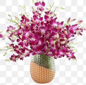 Exquisite Vase Mounted Dendrobium Flower Bouquet - Dendrobium Orchids Flower Plant Stem PNG