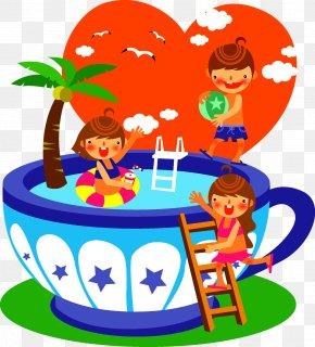 Children Swimming Illustration - Summer Child Clip Art PNG