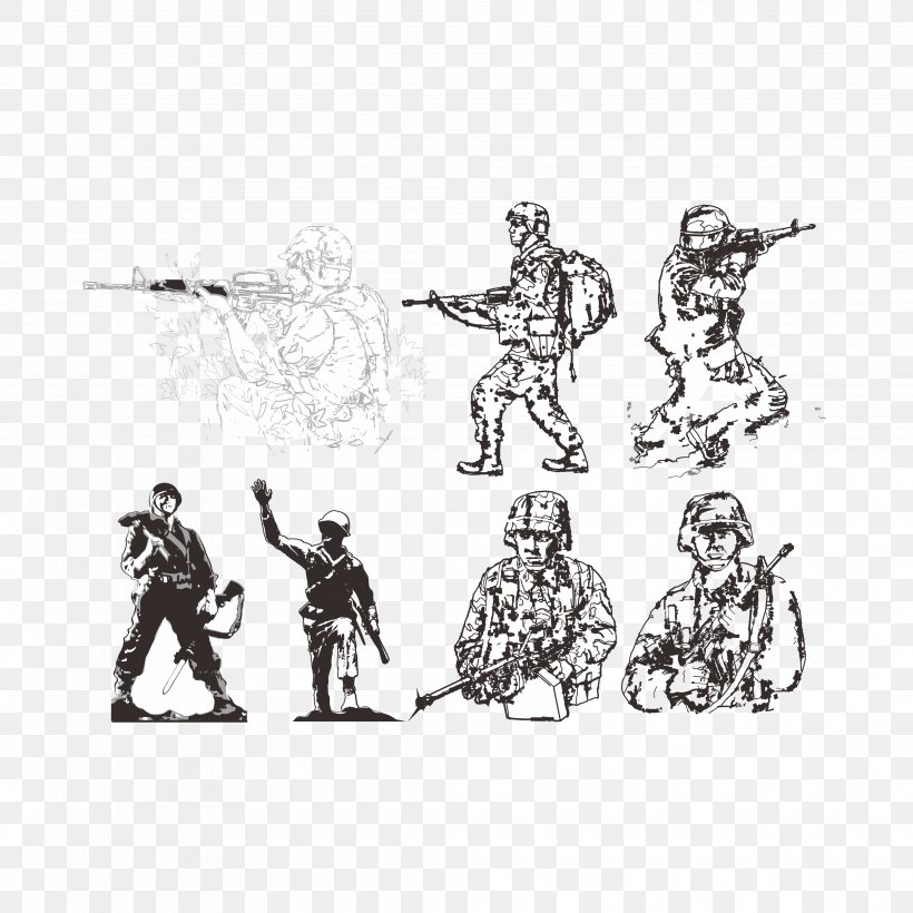 Soldier Military Salute Army, PNG, 4144x4144px, Soldier, Army, Army Officer, Art, Black And White Download Free