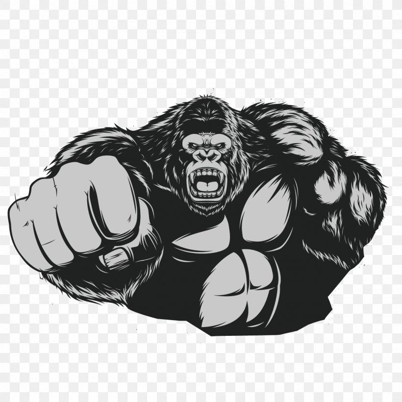 Western Gorilla Ape King Kong Chimpanzee, PNG, 1276x1276px, Western Gorilla, Ape, Art, Black, Black And White Download Free
