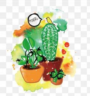Vector Watercolor Potted - Flowerpot Euclidean Vector Plant PNG
