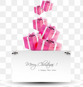 Pink Christmas Card Design Creative Gift Boxes - Santa Claus Gift Christmas Card PNG