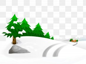 Snowy Winter Ground With Trees And House Clipart Image - Snow Winter Illustration PNG