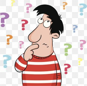 A Cartoon Illustration Is Confused By A Pile Of Questions PNG