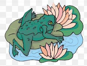 Vector Frog Lotus - Frog Cartoon Clip Art PNG