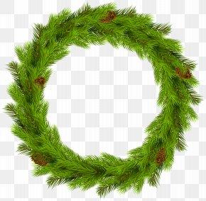 Christmas Pine Wreath Clip Art Image - Wreath Christmas Clip Art PNG
